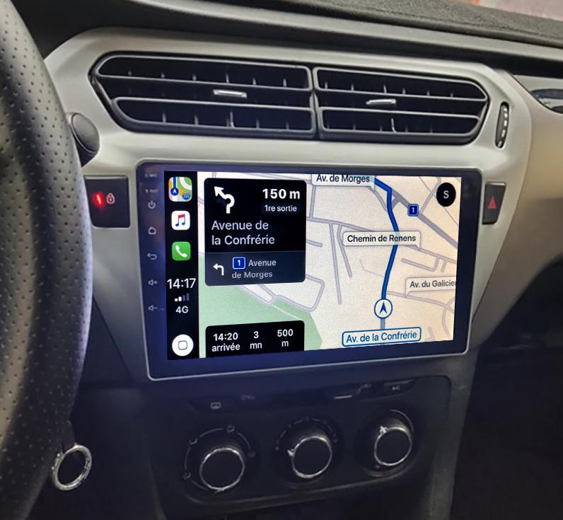 Autoradio tactile GPS Android 11.0 et Bluetooth Peugeot 301