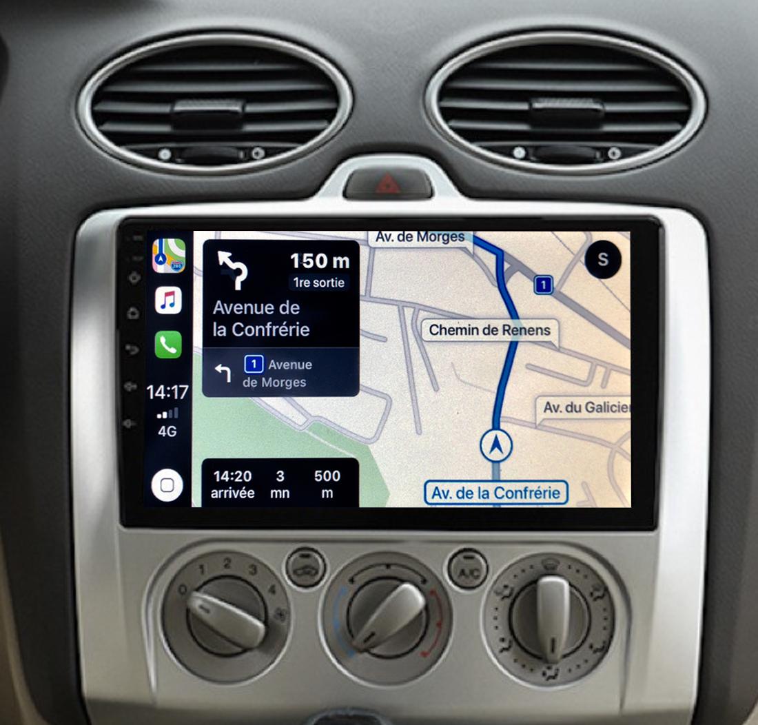 Autoradio GPS à écran tactile QLED Android 11.0 et Apple Carplay sans fil Ford Focus de 2004 à 2010