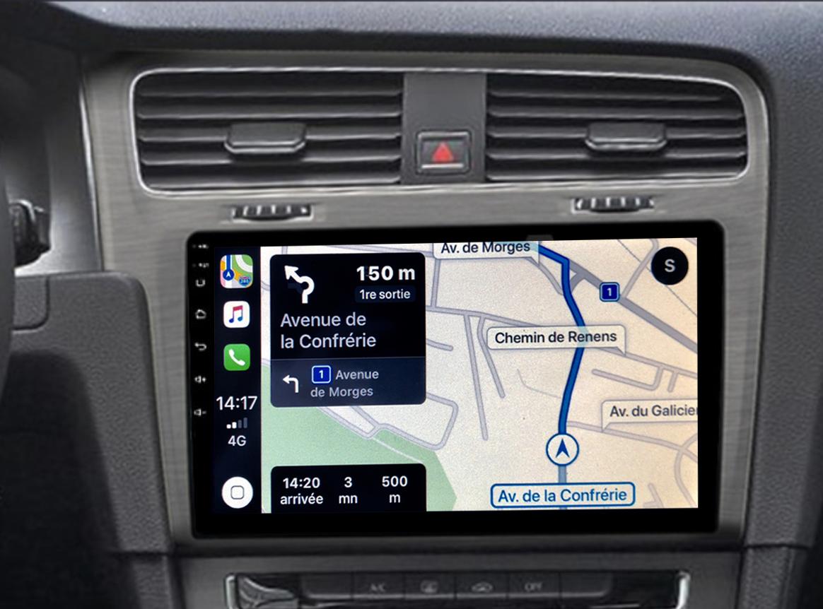 Autoradio GPS à écran tactile QLED Android 11.0 et Apple Carplay sans fil Volkswagen Golf de 2013 à 2020