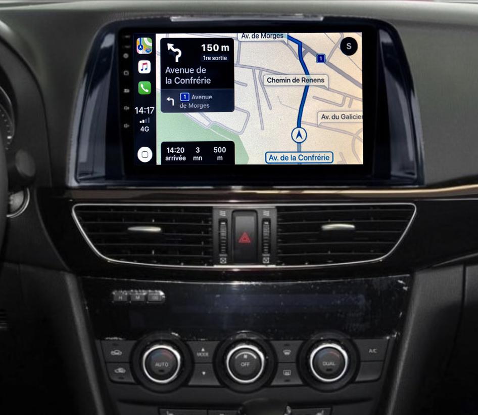 Autoradio GPS à écran tactile QLED Android 11.0 et Apple Carplay sans fil Mazda 6 de 2013 à 2017