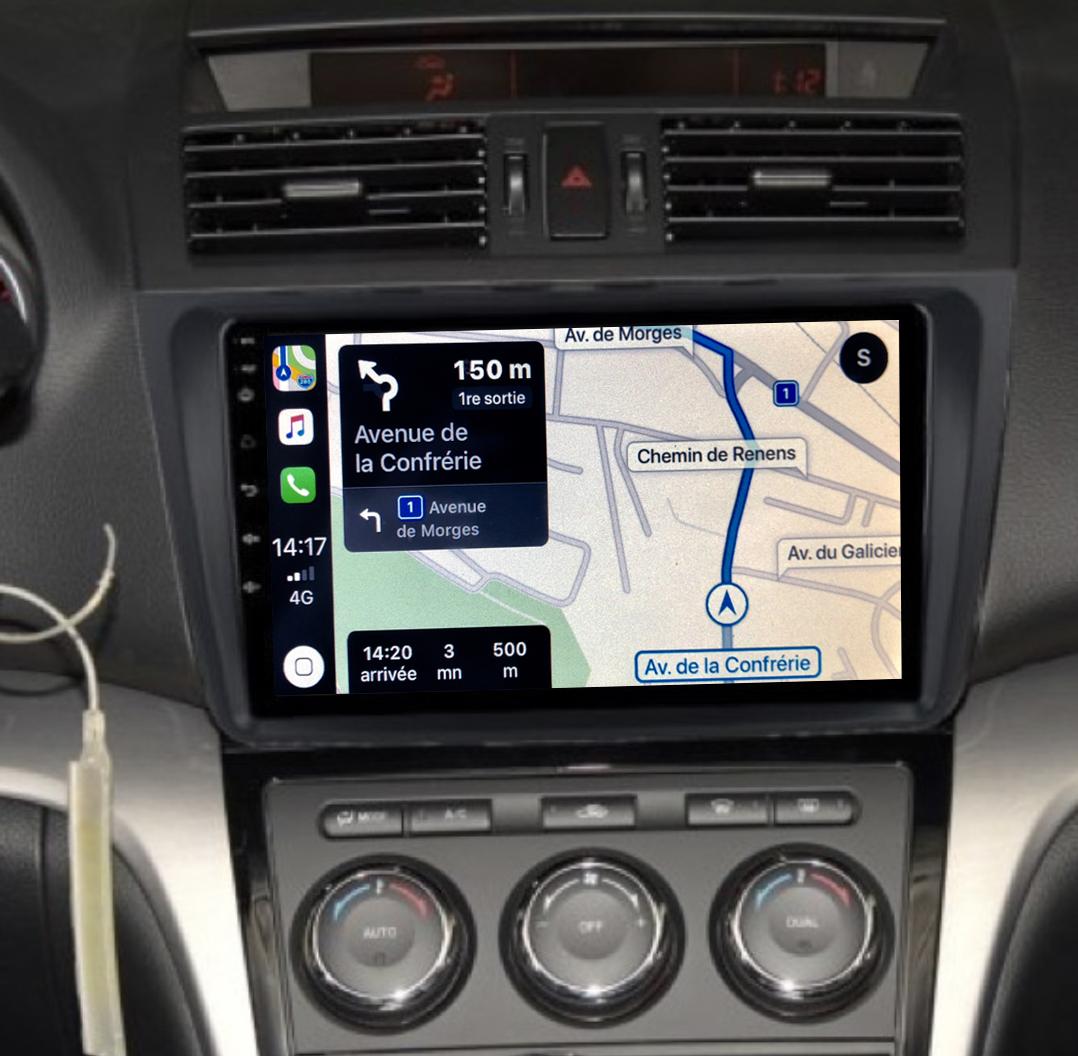 Autoradio GPS à écran tactile QLED Android 11.0 et Apple Carplay sans fil Mazda 6 de 2008 à 2012