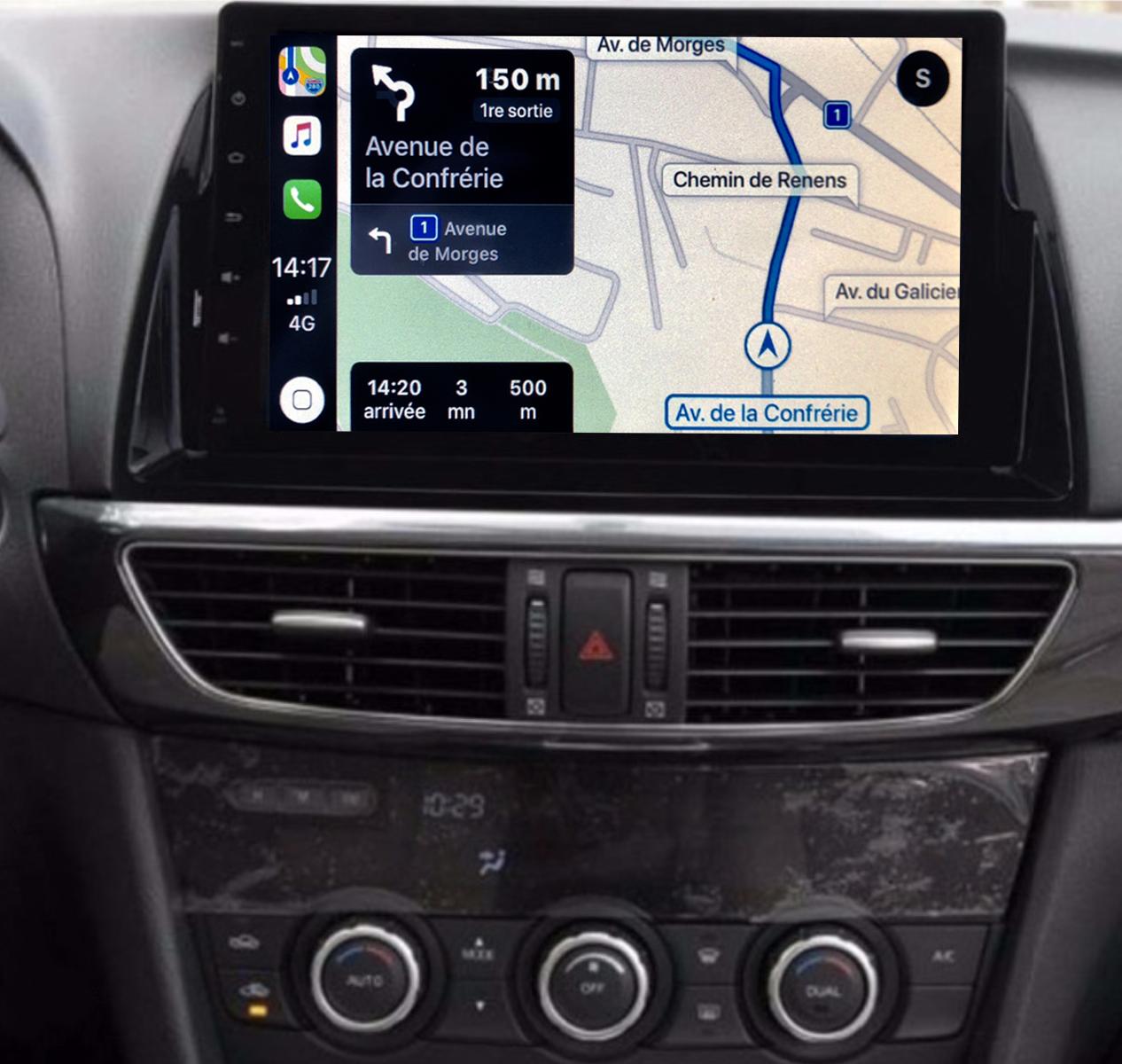 Autoradio GPS à écran tactile QLED Android 11.0 et Apple Carplay sans fil Mazda CX-5 de 2012 à 2017