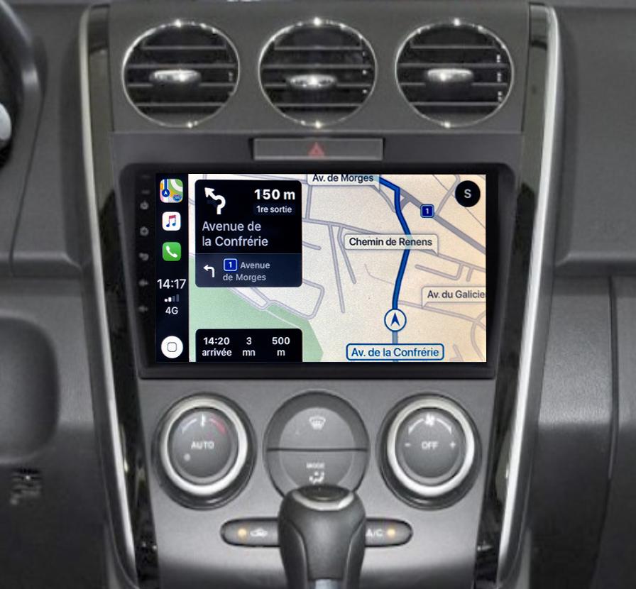 Autoradio GPS à écran tactile QLED Android 11.0 et Apple Carplay sans fil Mazda CX-7 de 2007 à 2012