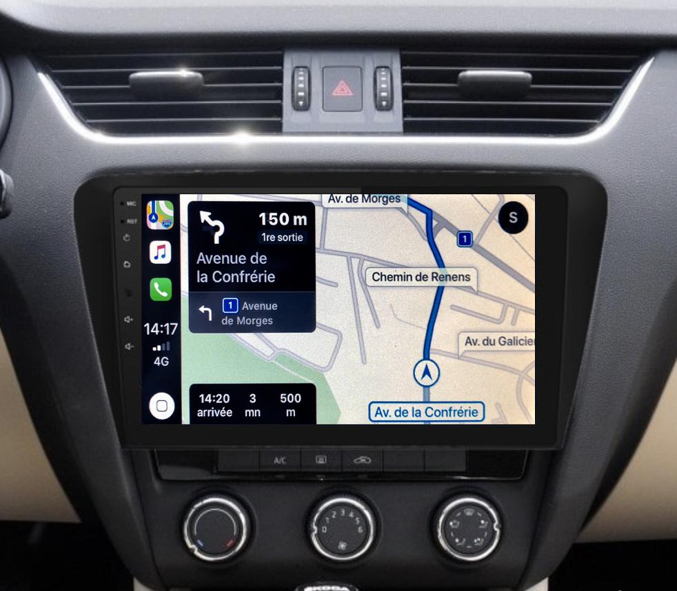 Autoradio GPS à écran tactile QLED Android 11.0 et Apple Carplay sans fil Skoda Octavia de 2013 à 2020