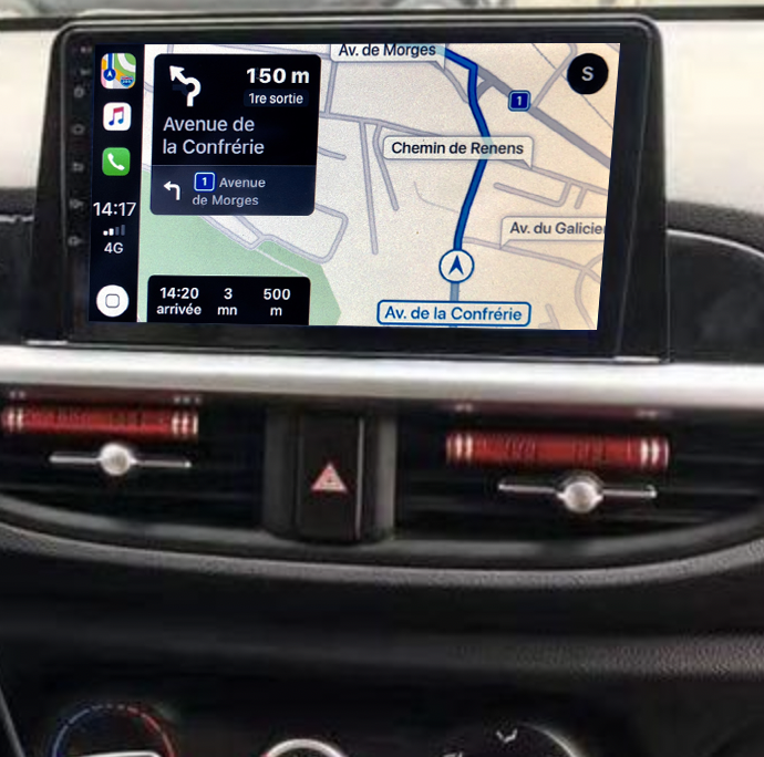 Autoradio tactile GPS Android 11.0 et Apple Carplay Kia Picanto depuis 2017