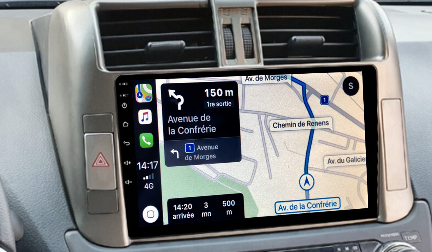 Autoradio GPS à écran tactile QLED Android 11.0 et Apple Carplay sans fil Toyota Land Cruiser 150 de 2010 à 2017