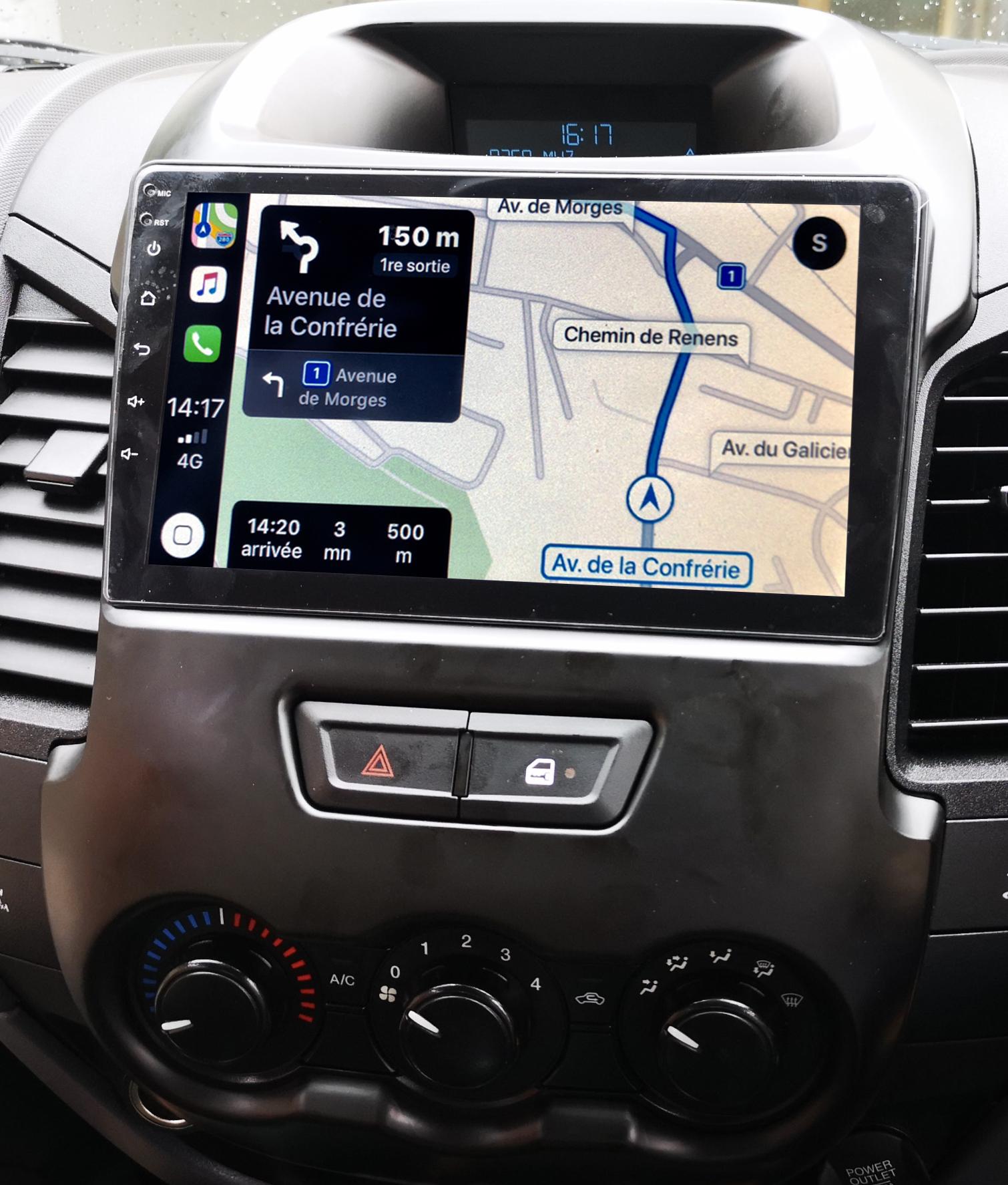 Autoradio GPS à écran tactile QLED Android 11.0 et Apple Carplay Ford Ranger de 2012 à 2015