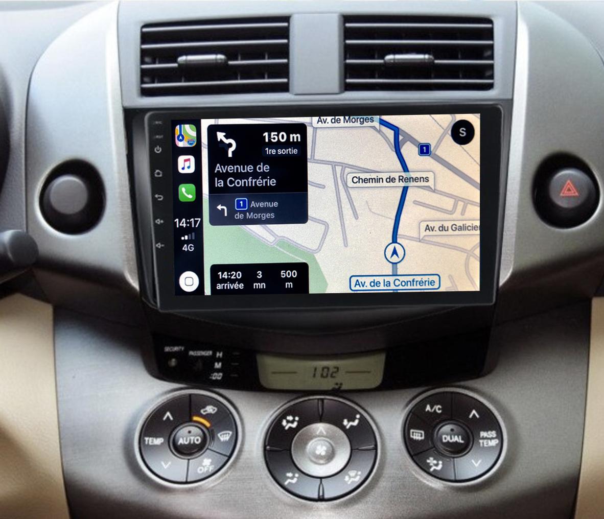 Autoradio GPS à écran tactile QLED Android 11.0 et Apple Carplay sans fil Toyota RAV4 de 2006 à 2012