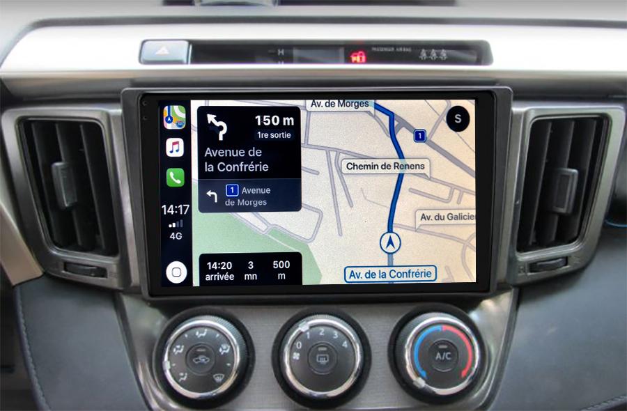 Autoradio GPS à écran tactile QLED Android 11.0 et Apple Carplay sans fil Toyota RAV4 de 2013 à 2018