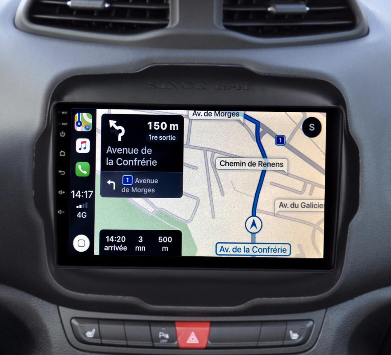 Autoradio GPS à écran tactile QLED Android 11.0 et Apple Carplay sans fil Jeep Renegade de 2014 à 2019
