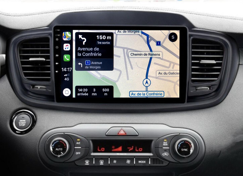 Autoradio GPS à écran tactile QLED Android 11.0 et Apple Carplay sans fil Kia Sorento de 2015 à 2018