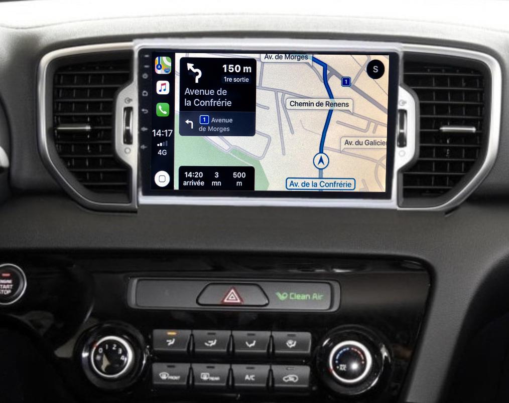 Autoradio GPS à écran tactile QLED Android 11.0 et Apple Carplay sans fil Kia Sportage depuis 2016