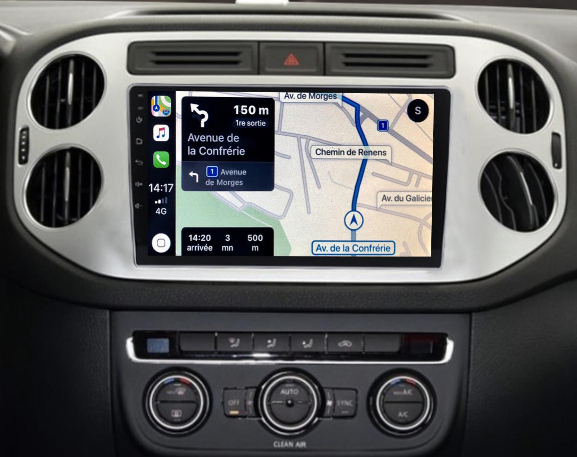 Autoradio GPS à écran tactile QLED Android 11.0 et Apple Carplay sans fil Volkswagen Tiguan de 2007 à 2016