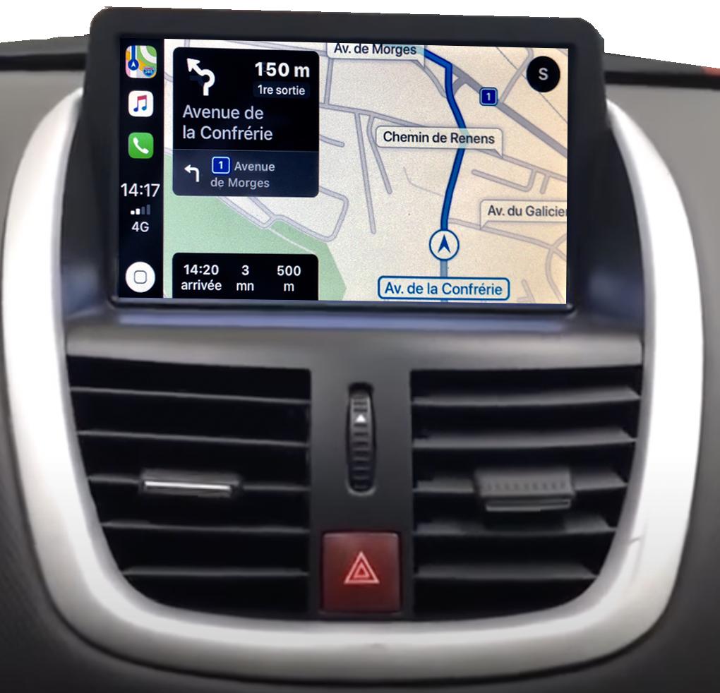 Autoradio écran tactile GPS Android 11.0 et Apple CarPlay USB Peugeot 207