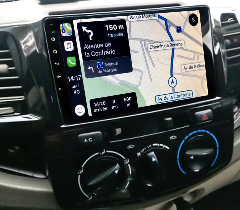 Autoradio GPS à écran tactile QLED Android 11.0 et Apple Carplay sans fil Toyota Hilux de 2012 à 2015
