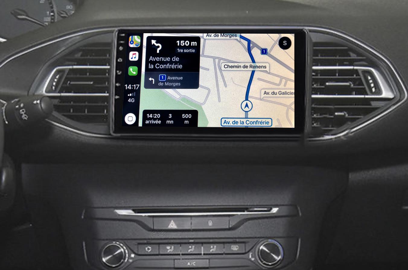Autoradio GPS à écran tactile QLED Android 11.0 et Apple Carplay Peugeot 308 de 2013 à 2018