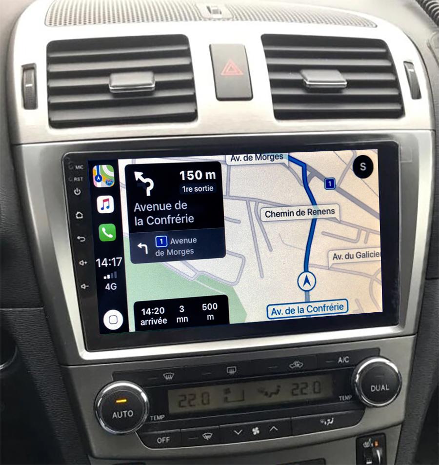 Autoradio GPS à écran tactile QLED Android 11.0 et Apple Carplay sans fil Toyota Avensis de 02/2003 à 2009