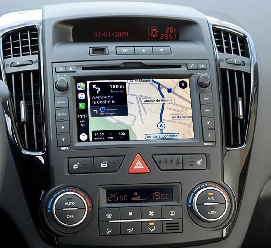 Autoradio tactile GPS Android 10.0 et Apple Carplay Kia Cee\'d de 08/2009 à 07/2012