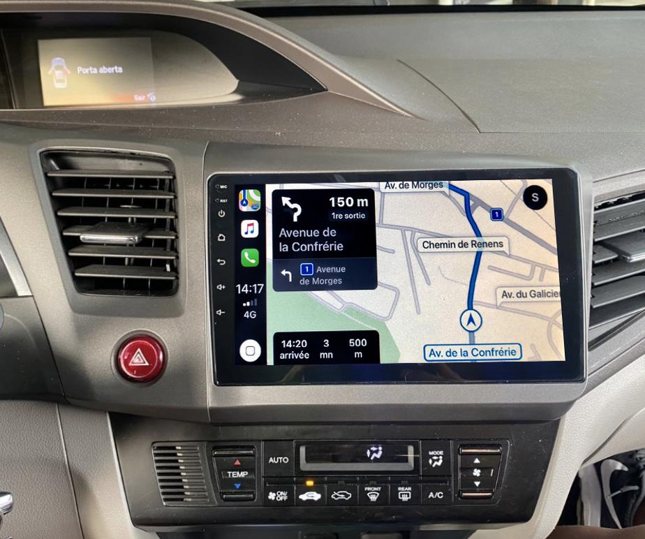 Autoradio GPS à écran tactile QLED Android 11.0 et Apple Carplay sans fil Honda Civic de 2012 à 2015