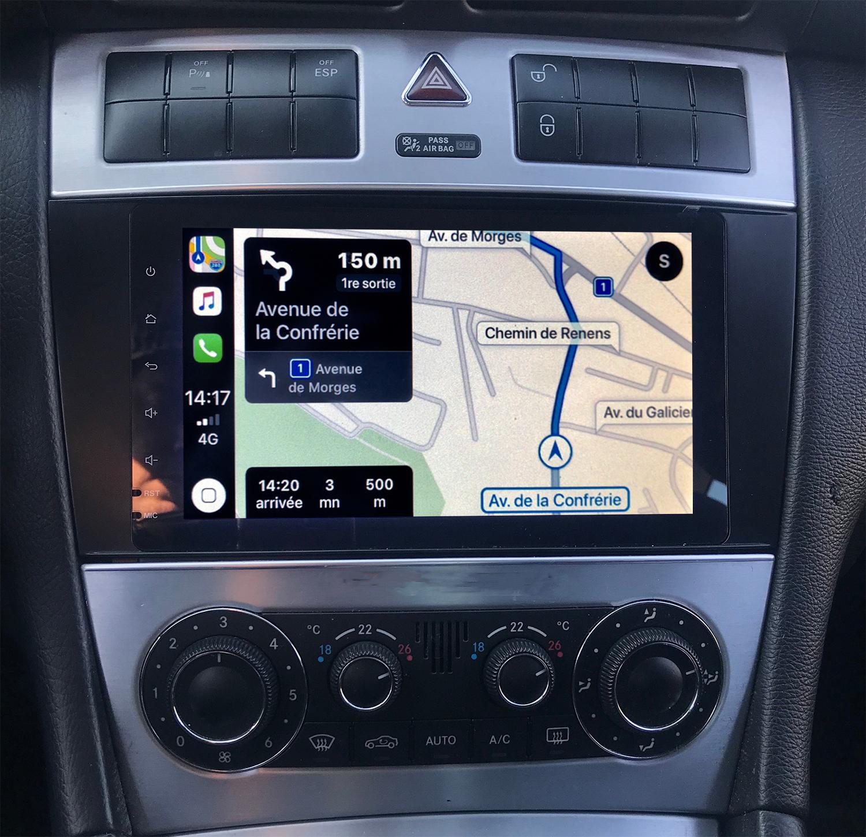 Autoradio tactile GPS Android 9.0 et Apple Carplay Mercedes Classe C de 2004 à 2007 et CLC de 2008 à 2010