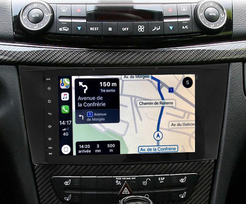 Autoradio tactile GPS Android 9.0 et Apple Carplay Mercedes Classe E, Classe G et CLS
