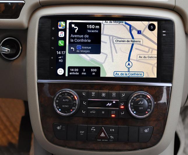 Autoradio GPS à écran tactile QLED Android 11.0 et Apple Carplay Mercedes Classe R de 2006 à 2012