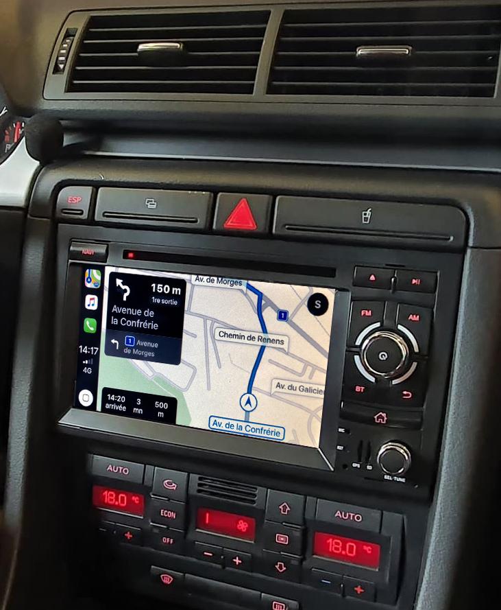 Autoradio tactile GPS Android 11.0 et Apple Carplay Audi A4 de 2001 à 2007