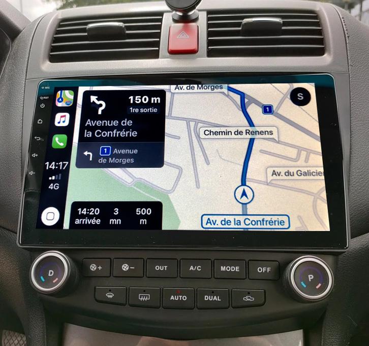 Autoradio GPS à écran tactile QLED Android 11.0 et Apple Carplay sans fil Honda Accord de 2002 à 2008