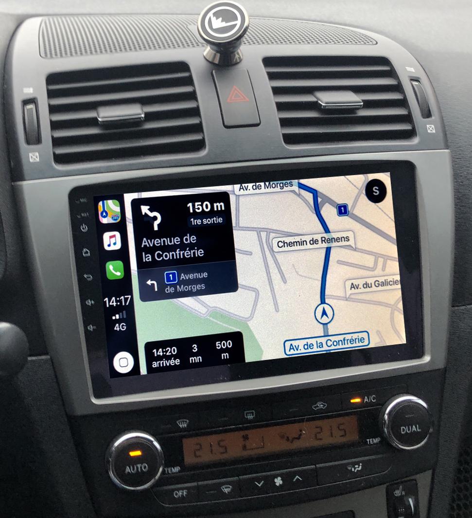 Autoradio GPS à écran tactile QLED Android 11.0 et Apple Carplay sans fil Toyota Avensis de 2009 à 2013