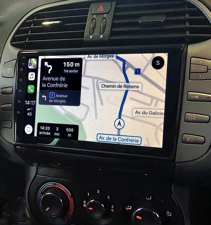 Autoradio GPS à écran tactile QLED Android 11.0 et Apple Carplay Fiat Bravo de 04/2007 à 07/2014