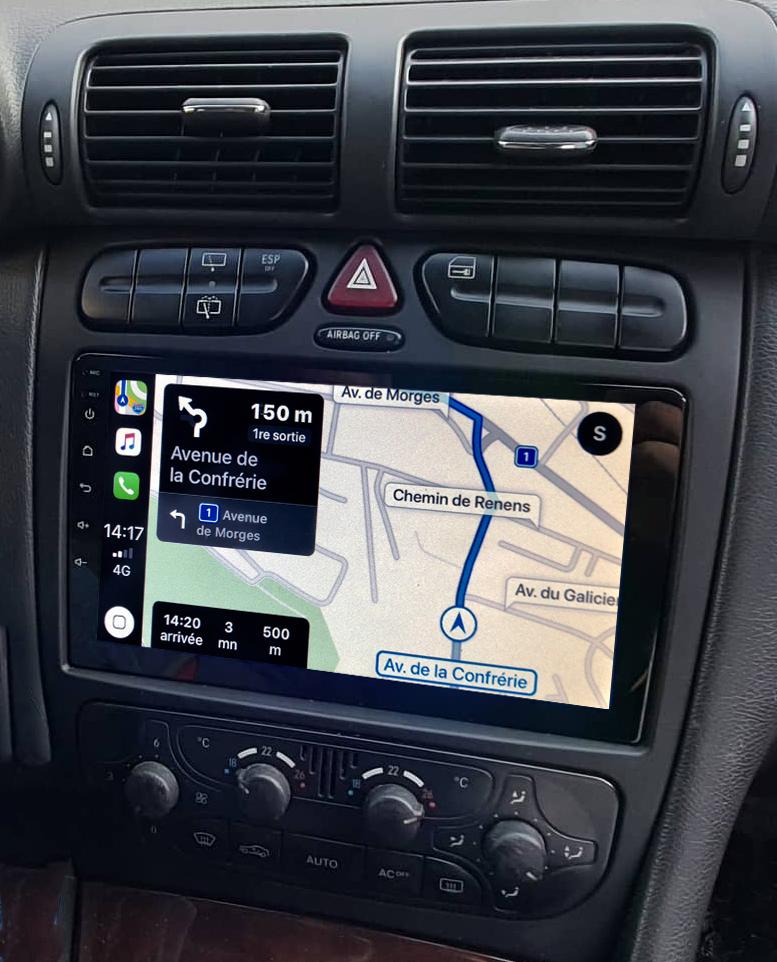Autoradio GPS à écran tactile QLED Android 11.0 et Apple Carplay sans fil Mercedes Classe C et CLK