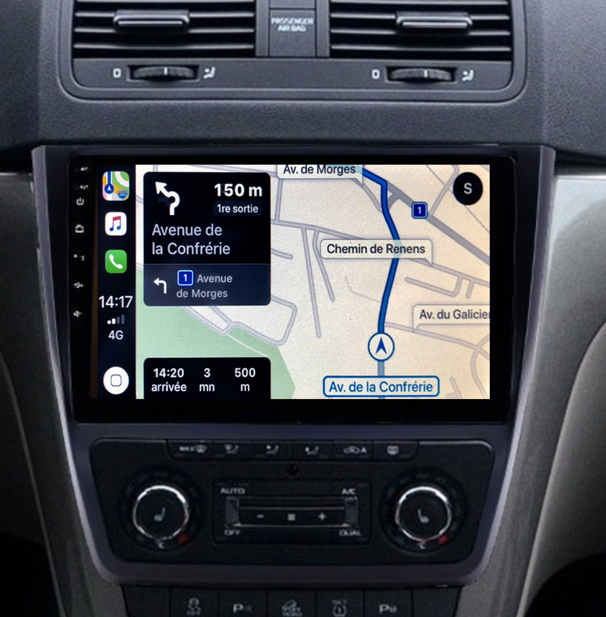 Autoradio GPS à écran tactile QLED Android 11.0 et Apple Carplay sans fil Skoda Yeti de 2009 à 2017