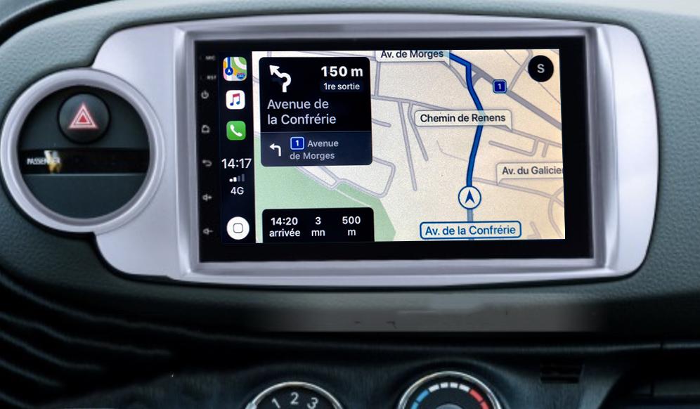 Autoradio tactile GPS Android 11.0 et Apple Carplay Toyota Yaris de 10/2011 à 07/2014