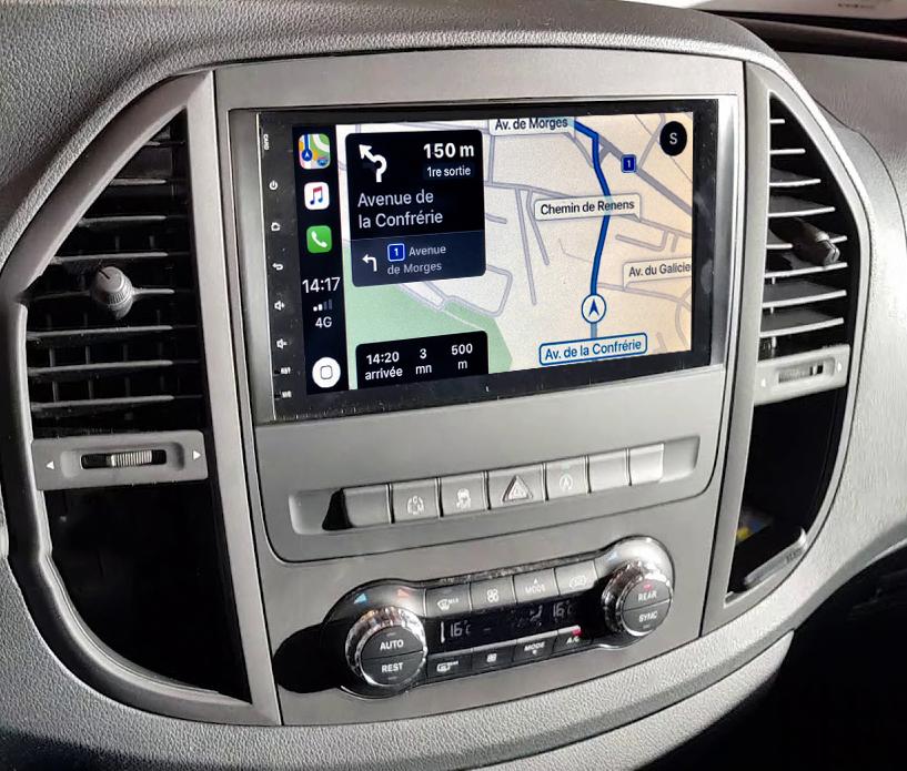 Autoradio GPS à écran tactile QLED Android 11.0 et Apple Carplay sans fil Mercedes Vito de 2015 à 2020