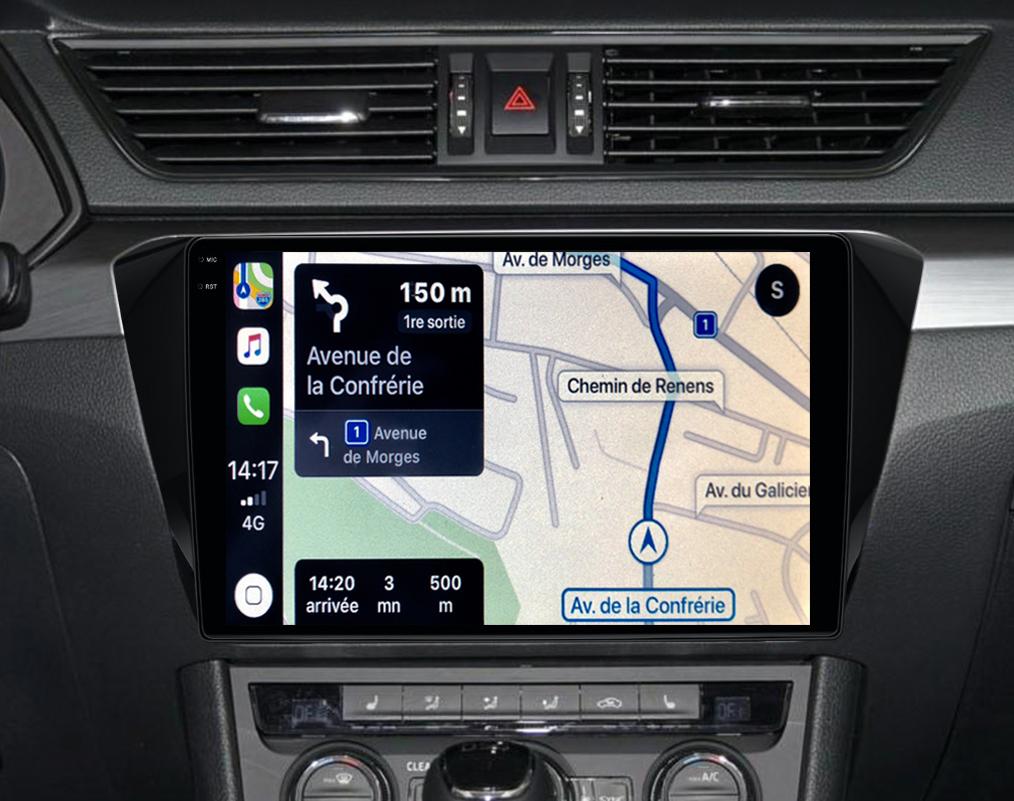 Autoradio GPS à écran tactile QLED Android 11.0 et Apple Carplay sans fil Skoda Superb de 2015 à 2019