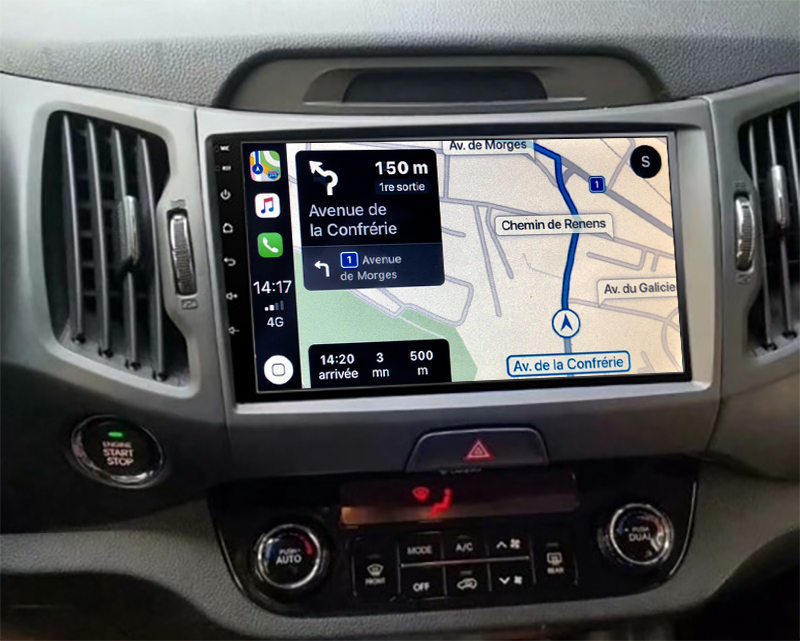 Autoradio GPS à écran tactile QLED Android 11.0 et Apple Carplay sans fil Kia Sportage de 2010 à 2014