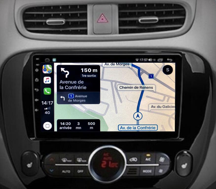 Autoradio GPS à écran tactile QLED Android 11.0 et Apple Carplay Kia Soul de 2014 à 2018