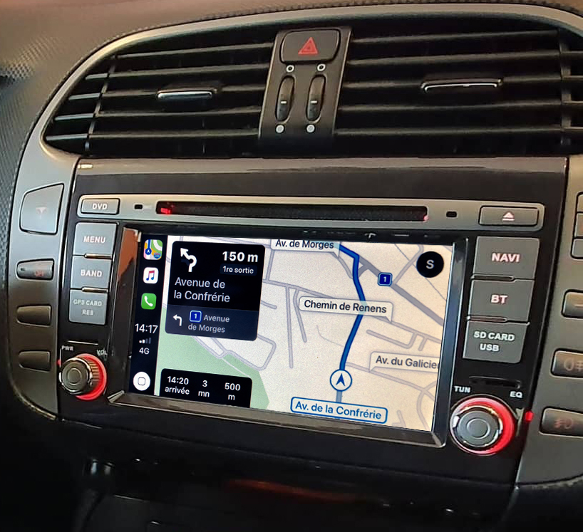 Autoradio tactile GPS Android 10.0 et Apple Carplay Fiat Bravo