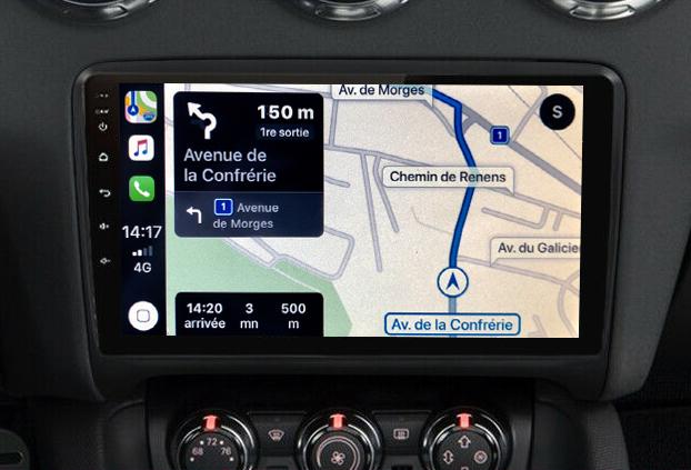 Autoradio GPS à écran tactile QLED Android 11.0 et Apple Carplay Audi TT de 2006 à 2014