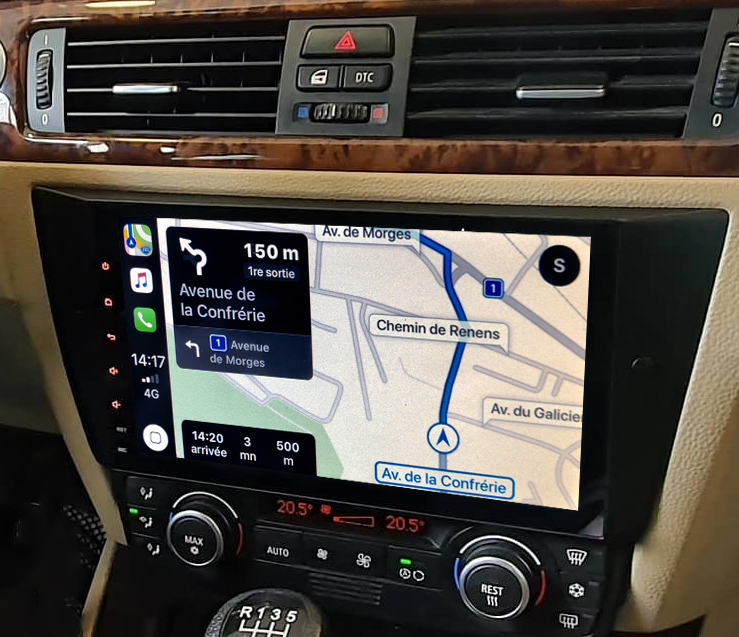 Autoradio tactile GPS Android 9.0 et Apple Carplay BMW Série 3 de 2005 à 2012