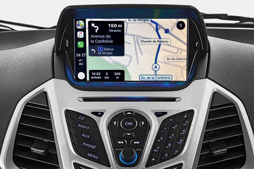 Autoradio tactile GPS Android 11.0 et Apple CarPlay USB Ford EcoSport de 2012 à 2017