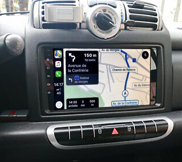 Autoradio GPS à écran tactile QLED Android 11.0 et Apple Carplay Smart Fortwo de 2006 à 2010