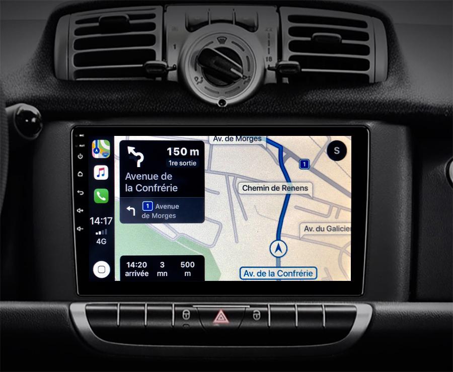 Autoradio GPS à écran tactile QLED Android 11.0 et Apple Carplay Smart Fortwo de 2010 à 2015