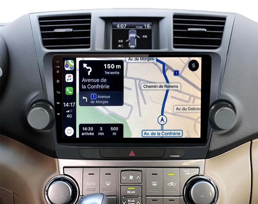 Autoradio GPS à écran tactile QLED Android 11.0 et Apple Carplay sans fil Toyota Highlander de 2008 à 2014