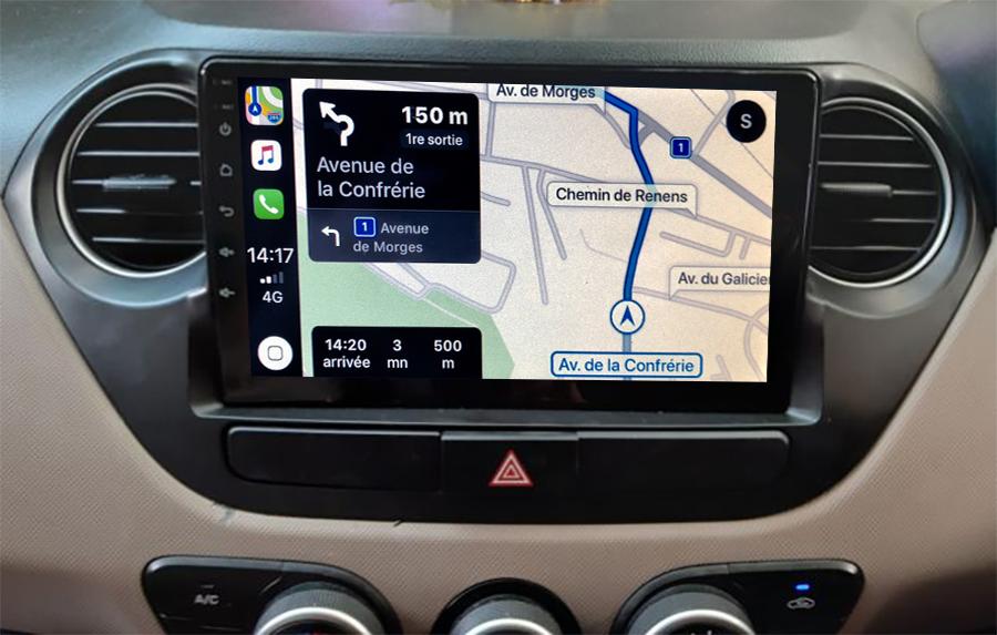 Autoradio GPS à écran tactile QLED Android 11.0 et Apple Carplay sans fil Hyundai i10 de 2014 à 2019