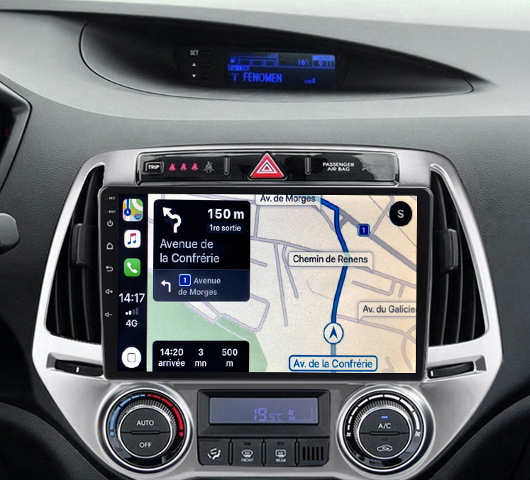 Autoradio GPS à écran tactile QLED Android 11.0 et Apple Carplay Hyundai i20 de 2012 à 2014