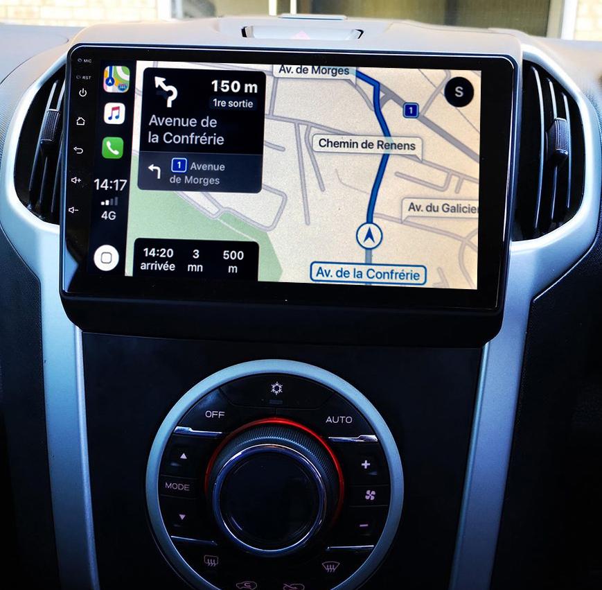 Autoradio GPS à écran tactile QLED Android 11.0 et Apple Carplay sans fil Isuzu D-Max