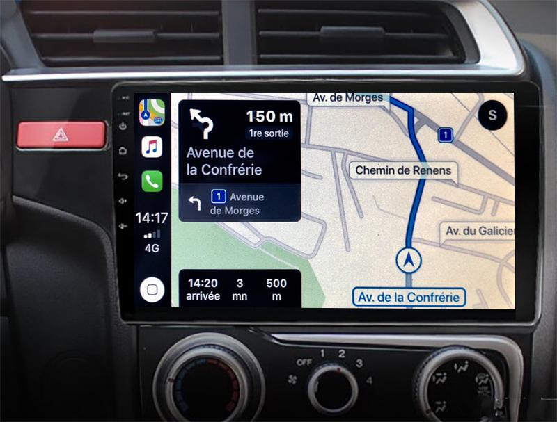 Autoradio GPS à écran tactile QLED Android 11.0 et Apple Carplay sans fil Honda Jazz de 2014 à 2020