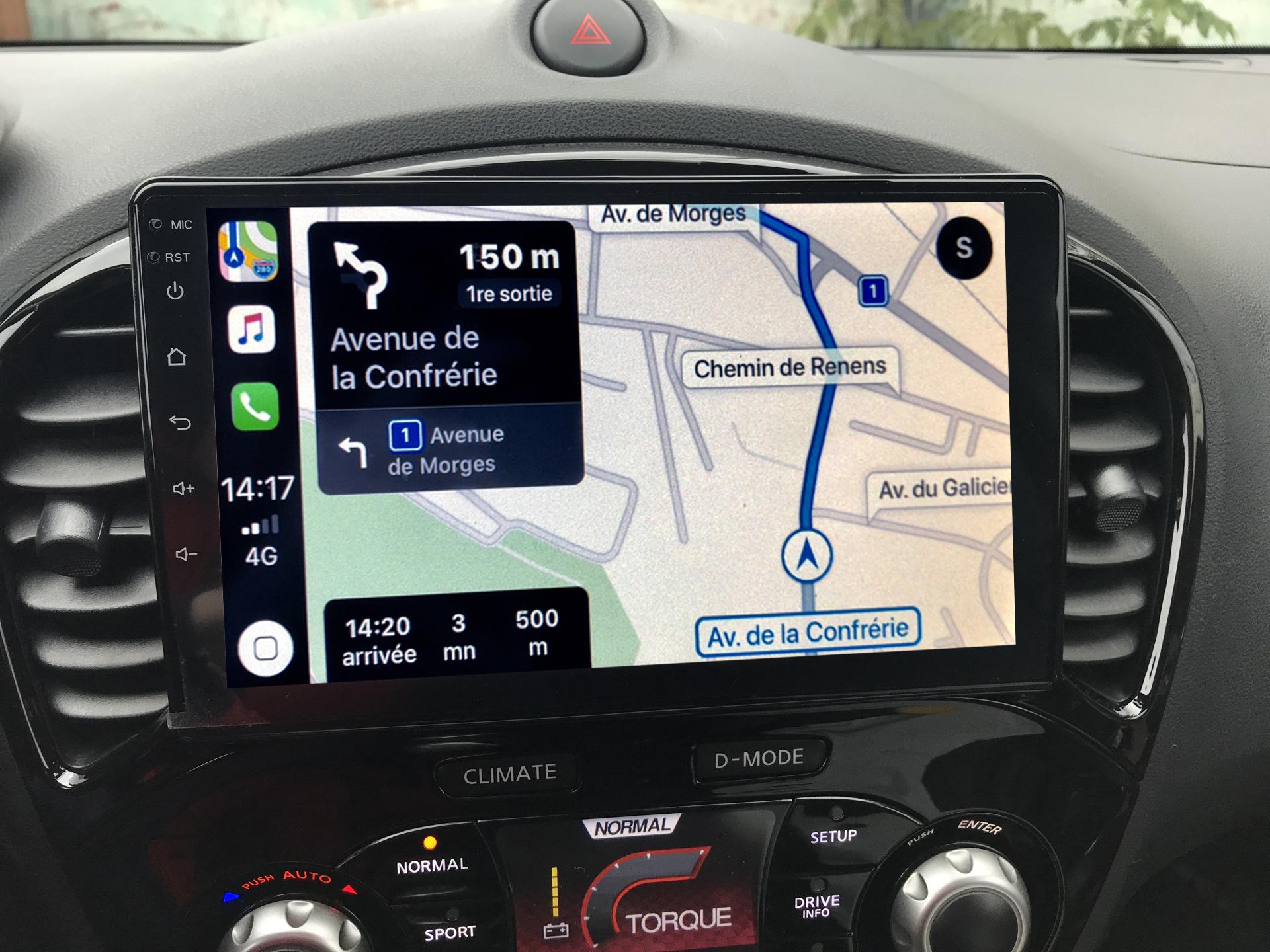 Autoradio GPS à écran tactile QLED Android 11.0 et Apple Carplay sans fil Nissan Juke de 2010 à 2018