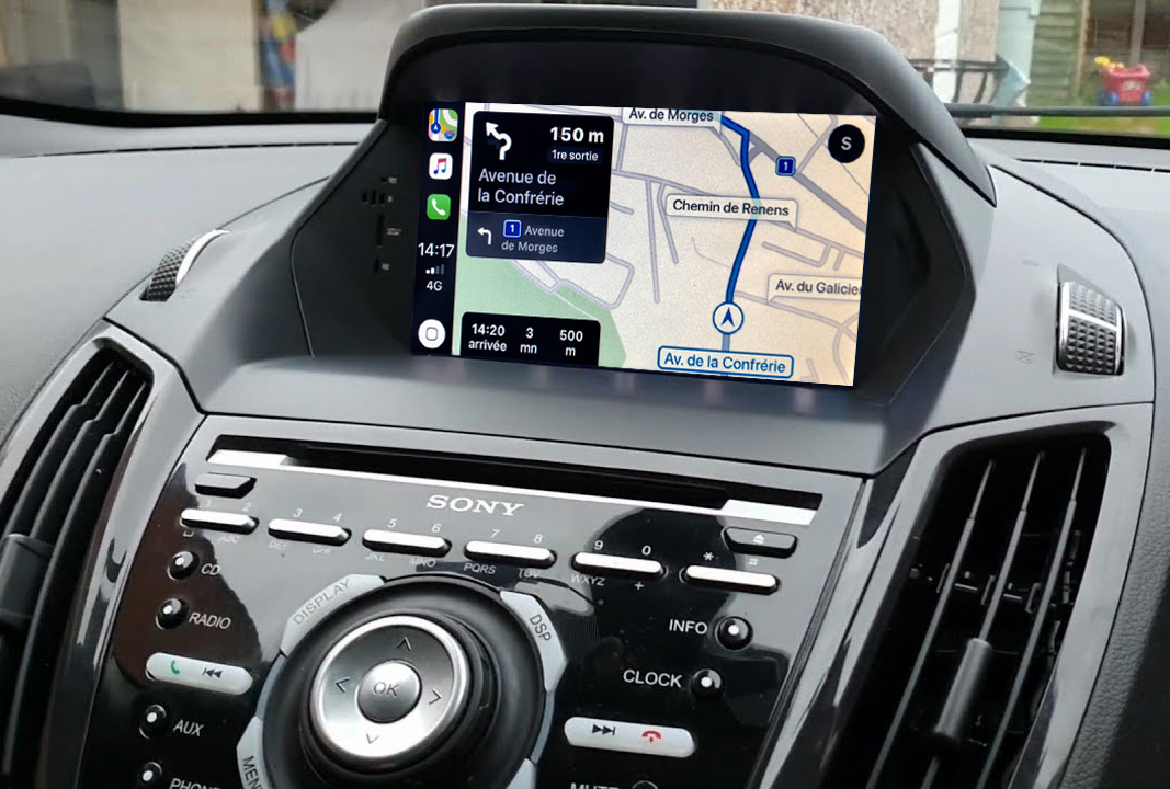 Autoradio GPS à écran tactile QLED Android 11.0 et Apple Carplay sans fil Ford Kuga et Ford C-Max